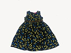 Bisbasta Cotton Crush Black Printed Girls Frock(8 Year)