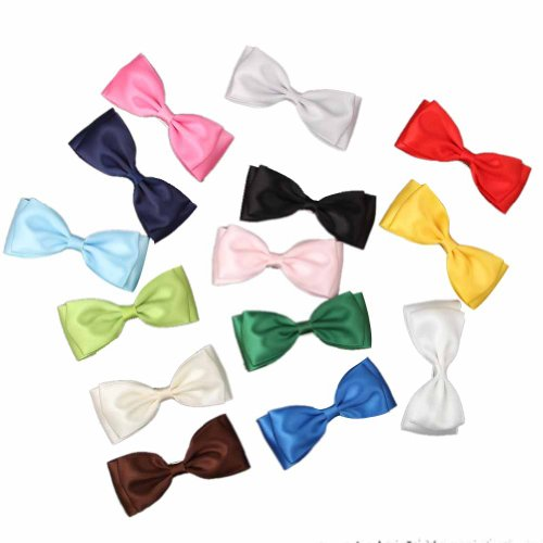 "Janecrafts 2 Pcs Satin Ribbons Girl 3.7"" Boutique Hair Bow Baby Aligator Clips"