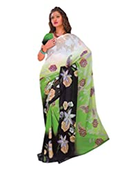 1st Home Green Color Georgette Printed Saree