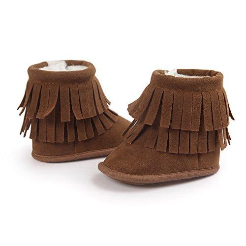 Kuner Baby Girls Boys Tassel Plush Soft Bottom Non-slip Prewalker Toddler Warm Snow Boots First Walkers (11cm(0-6months), Brown)