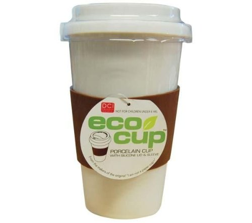 Eco Cup w/ Silicone Lid & Sleeve Coffee Tea i am not a paper cup look-a-like white porcelain travel mug (Colors May Vary)