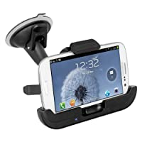iBOLT ChargingDock Car Mount, Holder for Samsung Galaxy S3 & S4, with 9ft car speaker sound integration cable, works with many cases.