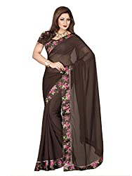 Vishal Brown Georgette Saree with Blouse Piece