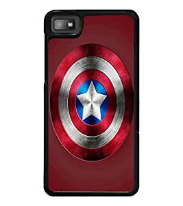 PrintDhaba Captain America Shield D-3328 Back Case Cover for BLACKBERRY Z10 (Multi-Coloured)