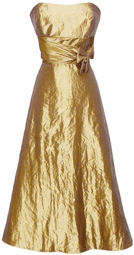 50's Strapless Taffeta Formal Gown Holiday Party Cocktail Dress Bridesmaid Prom, Medium, Gold