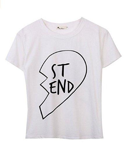 Qissy®Di estate modo Best Friends casuale camicia a maniche corte in pizzo T-shirt Ragazza modello manica corta con stampa floreale T (S, Bianco-ST)