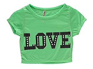 Simplicity Ladies'Studded Love Statement Crop Top Midriff T-shirt, Lime, L