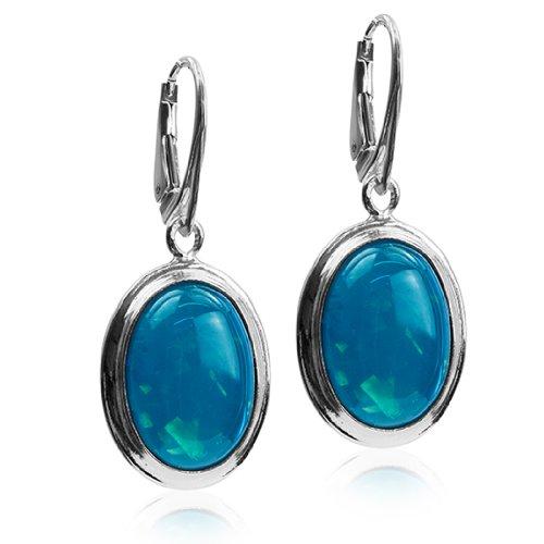 Sterling Silver Imitation Opal Oval Leverback Earrings