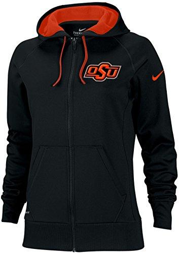 Nike WOMENS Oklahoma State Cowboys OSU Sideline Scoop Therma-FIT Hoodie Zip (Black, Medium)