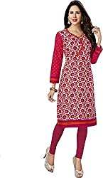 SDM Women's Kurti Printed Cotton Dress Material Unstitched (P-132-Red, Unstitched)