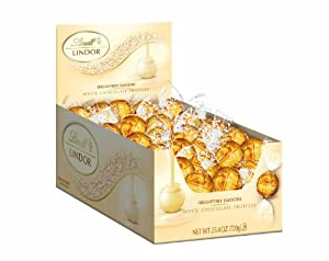 Lindt LINDOR White Chocolate Truffles ,60 Count Box