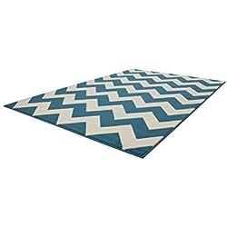 Zick Zack Arabesque Flachflor Teppich Teppich Nordic Teppiche Scandic Türkis , Größe:80cm x 150cm