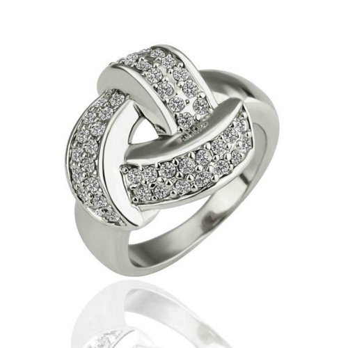 Yoursfs Unique 18K White Gold Plated Twisted Style Austrian Crystal Finger Ring For Women (9)