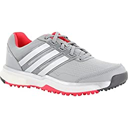 adidas Women\'s W Adipower S Boost II Golf Spikeless, Clear Onix/FTWR White/Shock Red S16, 9 M US