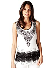 Per Una Placement Print Rear Crochet Tunic with Camisole