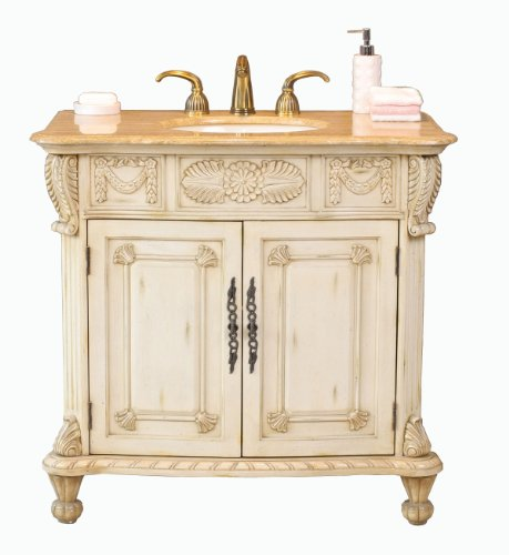 Virtu USA LS-1013T Casablanca 38-Inch Single Sink Bathroom Vanity with Ivory Ceramic Basin, Antique Ivory Finish with Travertine Stone Countertop