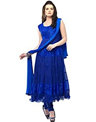 Khazanakart women's blue braso net Dress materials