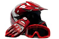 Youth Offroad Gear Combo Helmet Gloves Goggles DOT Motocross ATV Dirt Bike MX Spiderman Red, Large from Typhoon Helmets