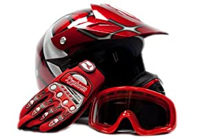 Youth Offroad Gear Combo Helmet Gloves Goggles DOT Motocross ATV Dirt Bike MX Spiderman Red, Small from Typhoon Helmets