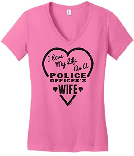 I Love My Life As A Police Officer'S Wife Juniors V-Neck Large True Pink