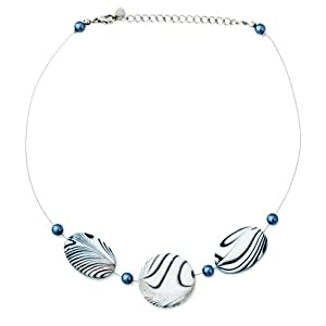 Zebra Shell with Pearl Beaded Wire Necklace Black and White 16''-19''