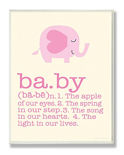 The Kids Room by Stupell Definition of Baby with Pink Elephant Rectangle Wall Plaque
