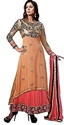 TFW Orange Salwar Kameez Semi Stitched Georgette Dress Material