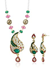 Sia Art Jewellery Pearl Jewellery Set For Women (Golden) (AZ2128)