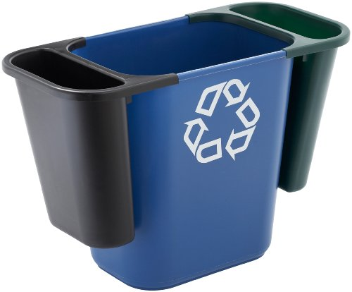 Rubbermaid commercial fg295073gr trash can recycling side bin rectangular green home garden - Garden waste containers ...