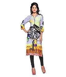 Shubh Women's Crepe Kurti (Shubh_182_Multi-Coloured_Free Size)