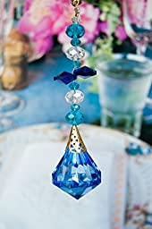 2 of Crystal Diamond Ceiling Lighting Fan Pulls Chain - Blue