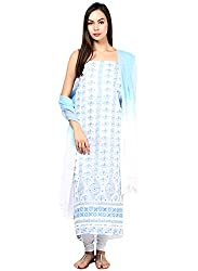 Nandini's Sky Blue Lucknawi Chikan Flowy Cotton Hand Embroidered Dress Material/ Unstitched Salwaar Kameez with Pure Chiffon Dupatta by SHENARO Lifestyle