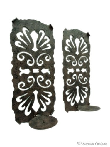 Set 2 Tuscan Decor Cast Iron Sconces Candle Sconce Wall Scroll Holders