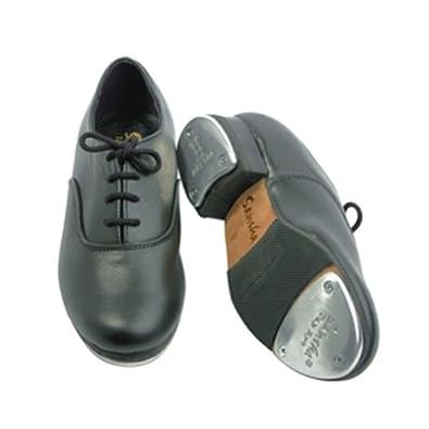 sansha black leather oxford tap