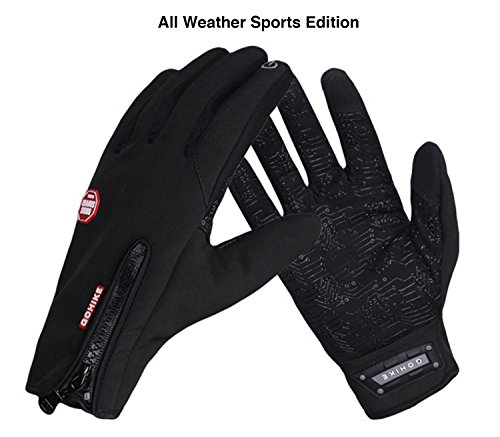 Go Hike All Weather Touchscreen Gloves Mens Winter Gloves Women Glove for Winter Tactical Gloves (Sports Edition, Black, Medium)