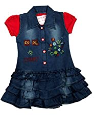 Mini Cats Girls Denim Fancy Frock