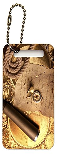 Rikki Knighttm Vintage Navigation Compass Map And Telescope Design Luggage Tags (Set Of 6)