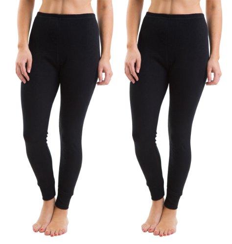 2 Womens Thermal Underwear Black Long Pants Vest Rib Jacquard