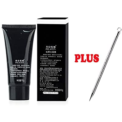 PILATEN blackhead remover,Tearing style Deep Cleansing purifying peel off the Black head,acne treatment,black mud face mask 60g and1 Specially Designed Microfiber Facial Scrubber and Instruction P-25
