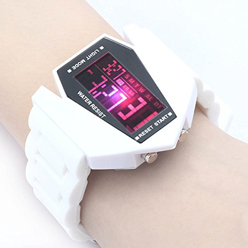 Plane Style Digital Display Led Silicone Wrist Watch (White)