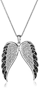 Sterling Silver Black and White Diamond Angel Wings Pendant Necklace (1/2 cttw, I-J Color, I2-I3 Clarity), 18