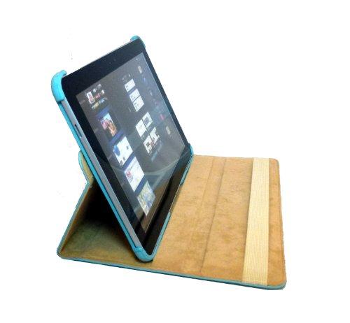 360° Rotierbar Leder Tasche case Sleeve für das Samsung 10.1 Zoll Galaxy Tab 2 P5100 P5110 - (hellblau)