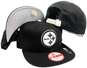 Pittsburgh Steelers Solid Black Leather Strapper Adjustable Strapback Hat Cap by New Era