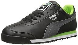 PUMA Men\'s Roma Basic Lace-Up Fashion Sneaker, Black/Steel Gray, 11 M US