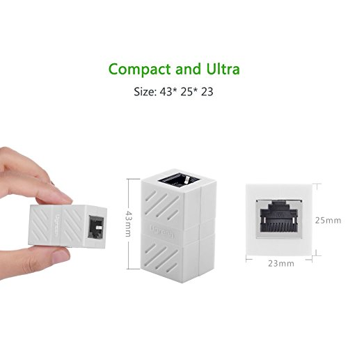 RJ45 Coupler, Ugreen In-Line Coupler Cat7/Cat6/Cat5e Ethernet Cable Extender Adapter Female to Female (1 Pack, White)