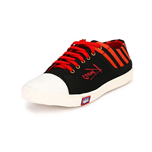 Knoos Men's Canvas Red Sneakers (CR-02-RD)