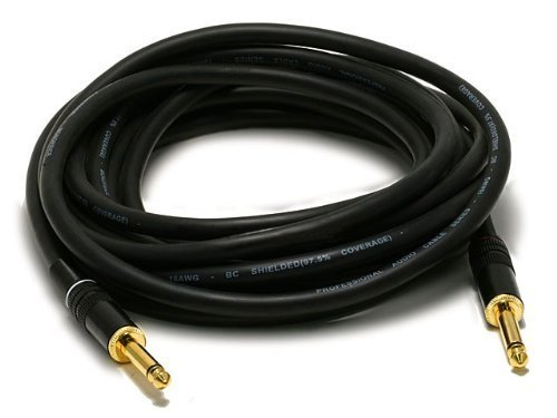 Premier Series 1/4inch(TS or Mono Phono)Male to Male 16AWG Instrument Cable - Gold Plated-
