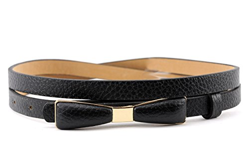 NYfashion101 Stylish Faux Leather Skinny Belt with Gold Tone Mini Bow Accent