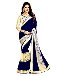 Winza top new georgette best fancy wedding saree for women girls with jaquard border & exclusive offers