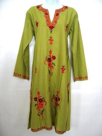 Floral Embroidery Work Ladies Blouse Tunic Top Kurta Kurti